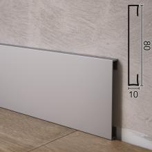 Алюминиевый плинтус для пола прямоугольный Sintezal P-88, 80х10х2500мм.