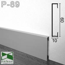 Прямоугольный алюминиевый плинтус Sintezal 60х10х2500мм., анодированный P-89