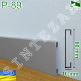 Накладной алюминиевый плинтус прямоугольной формы Sintezal P-89, 60х10 мм.