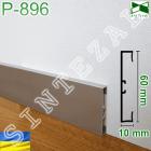 Прямоугольный алюминиевый плинтус для пола, высота 60 мм.