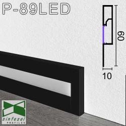Чёрный алюминиевый плинтус с LED-подсветкой Sintezal P-89LED-B, 60х10х2500мм.