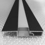 Накладной алюминиевый плинтус с подсветкой Sintezal P-89LEDB, высота 60 мм. Чёрный