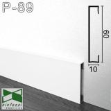 Белый алюминиевый плинтус Sintezal 60х10х2500мм. P-89W.