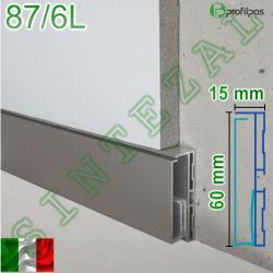 Встроенный плинтус с LED-подсветкой Profilpas Metal Line 87/6L, высота 60мм.