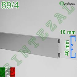 Прямоугольный алюминиевый плинтус Profilpas Metal Line 89/4, высота 40 мм.