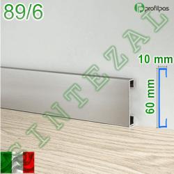Прямоугольный алюминиевый плинтус для пола Profilpas Metal Line 89/6, высота 60 мм.