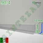 Плоский алюминиевый плинтус для пола Profilpas Metal Line 90/4