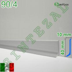 Плоский алюминиевый плинтус для пола Profilpas Metal Line 90/4, высота 40 мм.