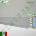 Плоский алюминиевый плинтус для пола Profilpas Metal Line 90/5