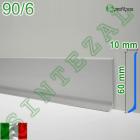 Плоский алюминиевый плинтус для пола Profilpas Metal Line 90/6