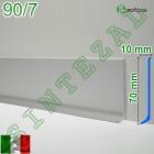 Плоский алюминиевый плинтус для пола Profilpas Metal Line 90/7