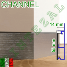 Алюминиевый встроенный плинтус Progress PROSKIRTING CHANNEL, 60х15 мм.