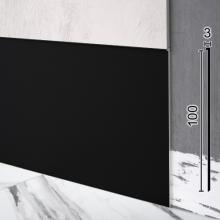 Плоский алюминиевый плинтус скрытого монтажа Sintezal P-112В, 100х3х2500мм. Чёрный
