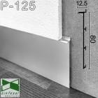 Скрытый алюминиевый плинтус под гипсокартон Sintezal Р-125, 80х12,5х2500мм.