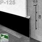 Чёрный встроенный алюминиевый плинтус под гипсокартон Sintezal Р-125В, 80х12.5х2500мм