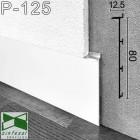 Белый встроенный алюминиевый плинтус под гипсокартон Sintezal Р-125W, 80х12.5х2500мм