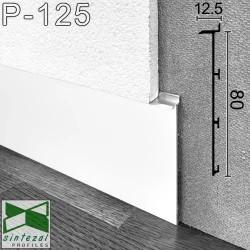 Белый cкрытый алюминиевый плинтус под гипсокартон Sintezal® Р-125W, P-125B, Sintezal P-125B