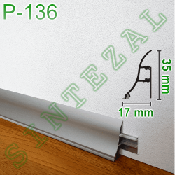 Алюминиевый универсальный плинтус Sintezal Р-136, 35х17мм.