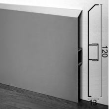 Алюминиевый плинтус для пола ARFEN Р-323, 120х13х3000мм., Серебро