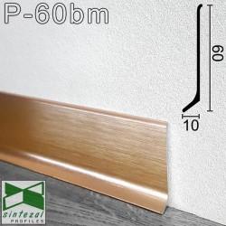 Брашированный алюминиевый плинтус Sintezal P-60BM, 60х10х2500мм. Цвет - Медь