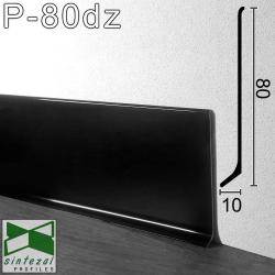 Черный алюминиевый плинтус для пола Sintezal® P-80DZ