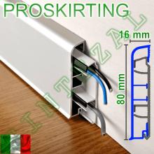 Алюминиевый плинтус с кабель-каналом Progress PROSKIRTING