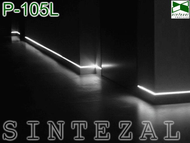 Алюминиевый плинтус с LED-подсветкой,  Sintezal P-105L